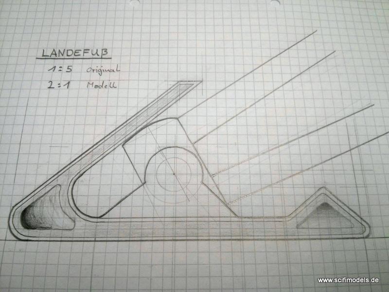 1. Bleistiftzeichnung vom Landefuß